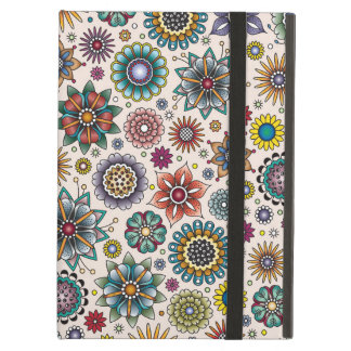 Tattoo Style Flower Doodle Pattern iPad Air Cases
