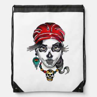 Tattoo Style Gypsy Day of the Dead Girl Watercolor Drawstring Backpack