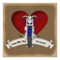 Tattoo Style Motorcycle & Heart Wedding Invitation