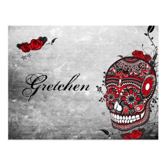 Tattoo Style Muerte Skull and Flourishes Name Card Postcard
