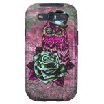 Tattoo style owl with top hat in pink and green galaxy s3 cases