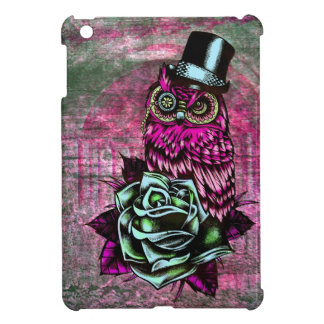 Tattoo style owl with top hat in pink and green iPad mini case