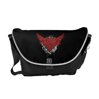 Tattoo Style Red Flying Heart Messenger Bag