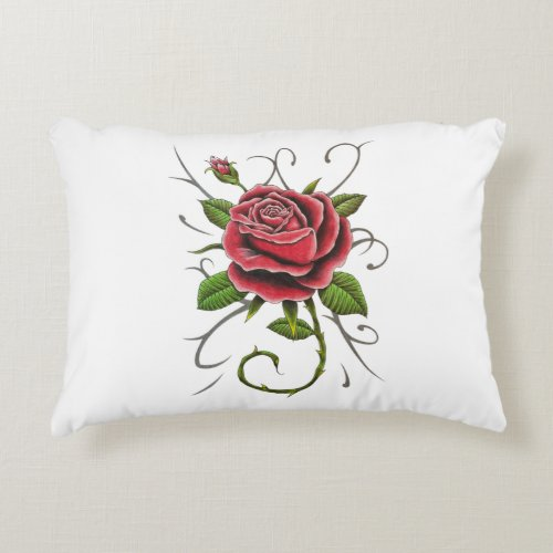 """""""Tattoo Style Red Rose"""" Pillow"""