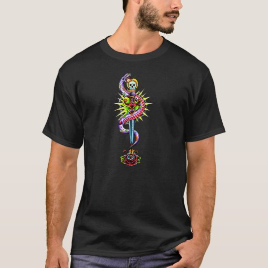 Tattoo Style Rose with Dagger and Snake T-Shirt