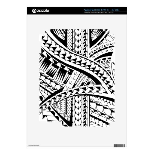 Tattoo style skin with Samoan inspired patterns Skins For iPad 3