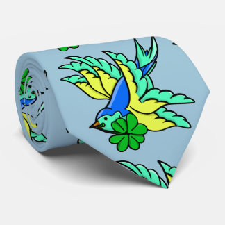 Tattoo Style Swallow With Lucky Four Leaf Clover Neck Tie