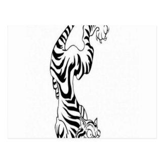 Tattoo style tiger design postcard