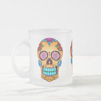 Tattoo Sugar Skull Frosted Glass Coffee Mug