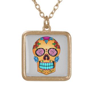 Tattoo Sugar Skull Square Pendant Necklace