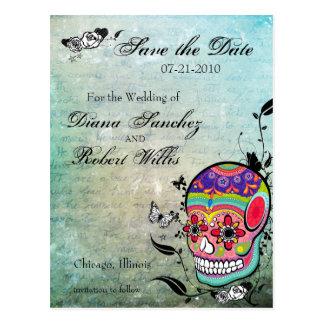 Tattoo Sugar Skull Save the Date Postcard
