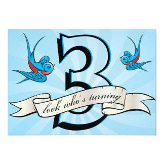 tattoo swallow & banner birthay party invitation