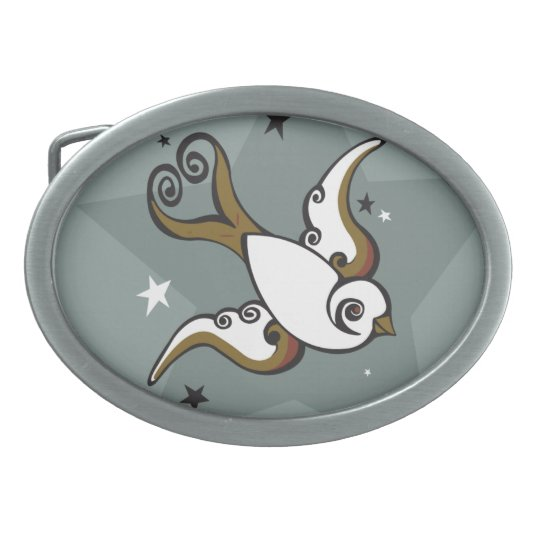 Tattoo Swallow Bird and Stars Belt Buckle