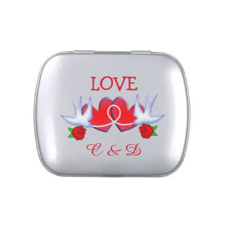 Tattoo Swallow Love Hearts And Roses Design Jelly Belly Tin