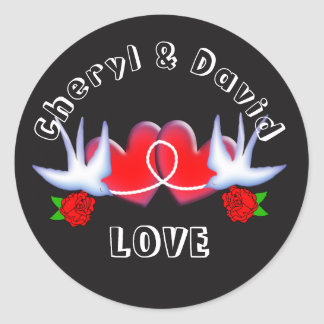 Tattoo Swallow Love Hearts And Roses Red Black Classic Round Sticker