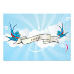 Tattoo Swallows and Scroll Reception card Personalized Invitations