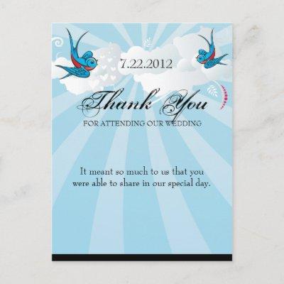 Tattoo Swallows and Scroll Urban Thank You. Postcard