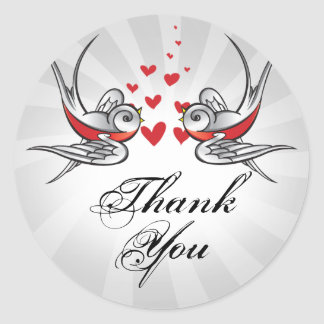 Tattoo Swallows and Scroll Urban Thank You. Sticker