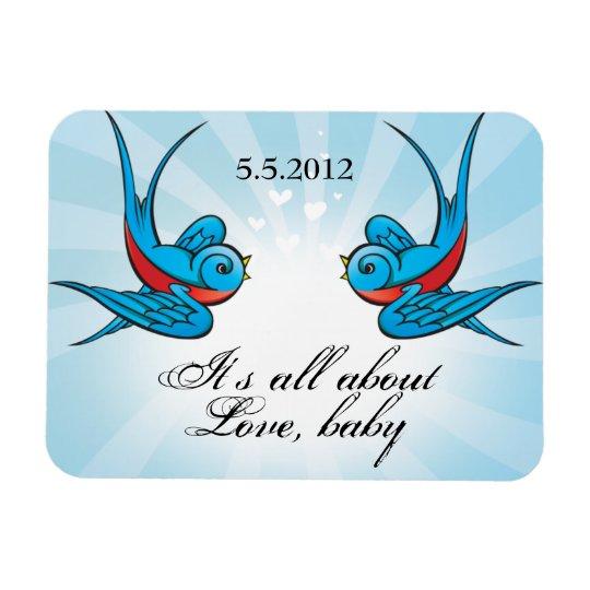 Tattoo Swallows Blue bird Date Magnet