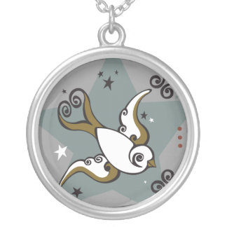 Tattoo Theme Swallow Star Design Necklace