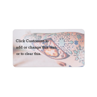 Tattoo Themed, Gypsy Inspired Snowflakes Tatto Bod Address Label