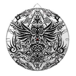 Tattoo tribal owl dartboard with darts