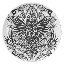 Tattoo tribal owl melamine plate