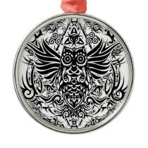 Tattoo tribal owl metal ornament