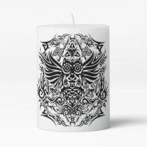 Tattoo tribal owl pillar candle