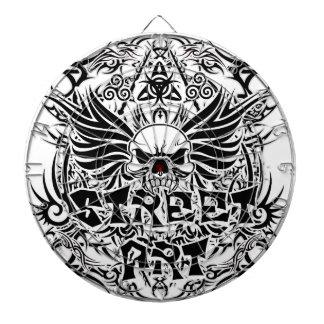 Tattoo tribal street art dartboard with darts