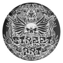 Tattoo tribal street art dinner plate