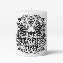 Tattoo tribal street art pillar candle
