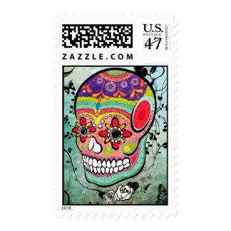 Tattoo Urban Muerte Day of the Dead Illustration Postage Stamp