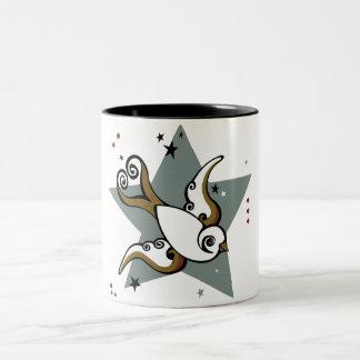 Tattoo Urban Swallow Bird Design Two-Tone Coffee Mug