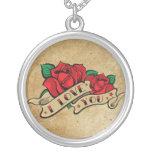 Tattoo Valentine's Day Love Rose Necklace