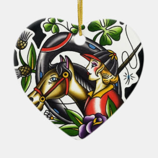 Tattoo Watercolor of an Irish girl and her horse Ceramic Ornament