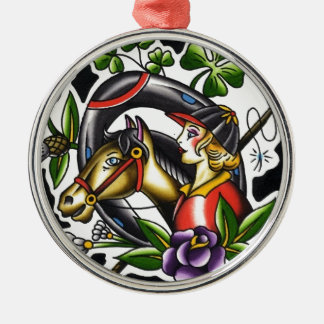 Tattoo Watercolor of an Irish girl and her horse Metal Ornament