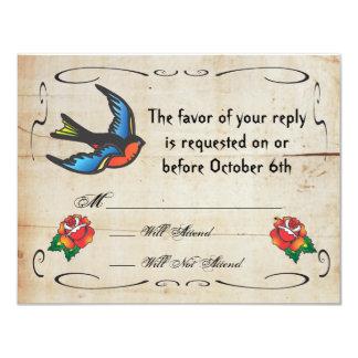 Tattoo Wedding RSVP Card Custom Invites
