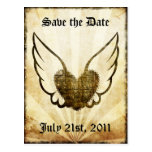 Tattoo Winged Heart Save the Date Postcard