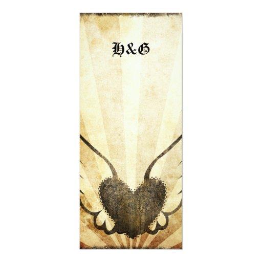 Tattoo Winged Heart  Wedding Reception Menus 4x9.25 Paper Invitation Card