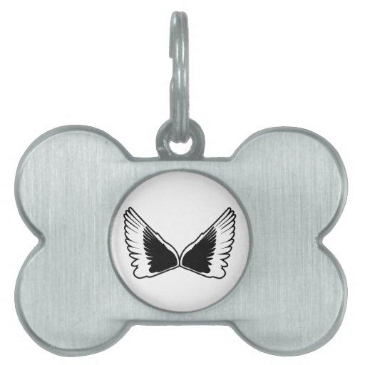 Tattoo wings pet name tags