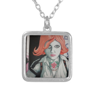 Tattoo Zombie Girl (AOM Design) Silver Plated Necklace