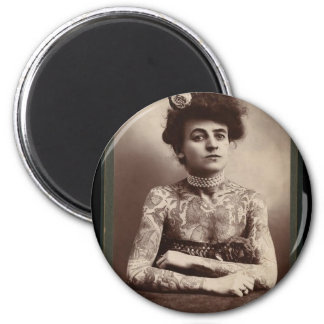 Tattooed American Woman 2 Inch Round Magnet