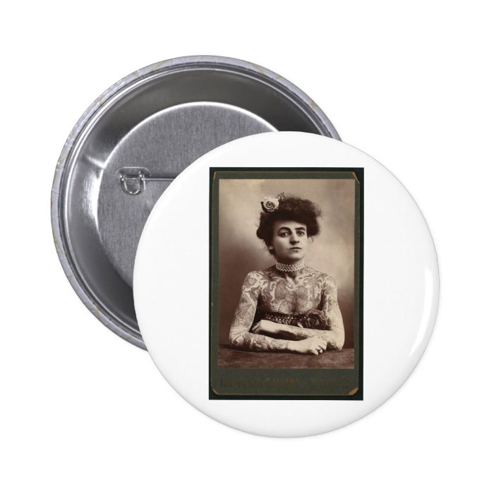 Tattooed American Woman Button