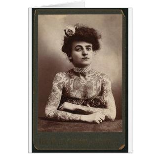 Tattooed American Woman Card
