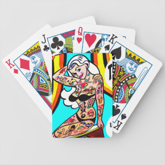 tattooed blonde pinup playing cards