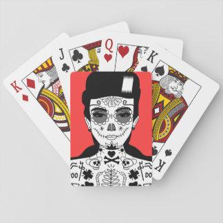 Tattooed Girl Portrait Illustration Playing Cards