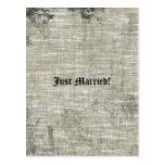 Tattooed Grunge Gothic Linen Wedding Announcement Postcard
