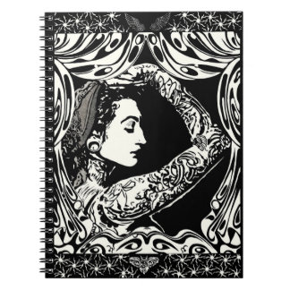 Tattooed gypsy woman black white notebook