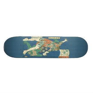 Tattooed Hercules Japanese Woodblock Print Skatebo Skateboard Deck